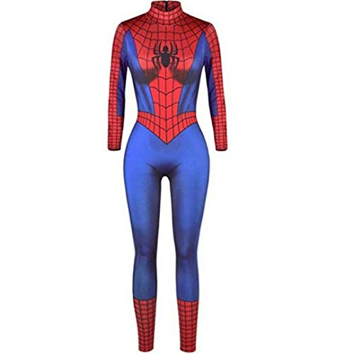 Szytypyl Adult Ladies Super Hero Jumpsuit Spiderman Cosplay Costume Halloween Bodysuit Clothes]()