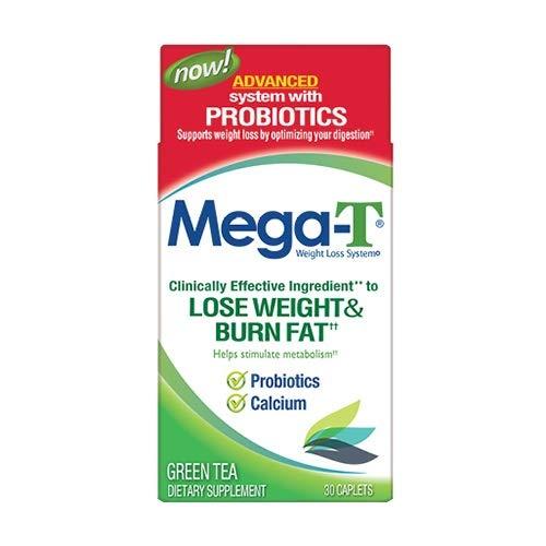 MEGA-T Green Tea Caplets with Probiotics and Calcium - 30 ct, Pack of 3