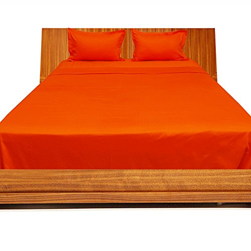 Relaxare Twin 300TC 100% Egyptian Cotton Orange Solid 4PCs Sheet Set Solid (Pocket Size: 19 inches)