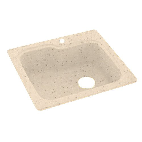 Swanstone KS02522SB.040 Solid Surface 1-Hole Dual Mount Single-Bowl Kitchen Sink, 25-in L X 22-in H X 9-in H, Bermuda Sand
