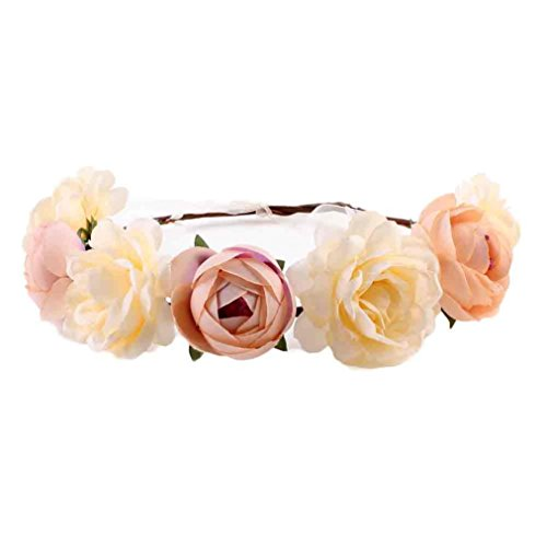 Gotd Women Handmade Flower Hairband Wreath Headdress (Khaki)