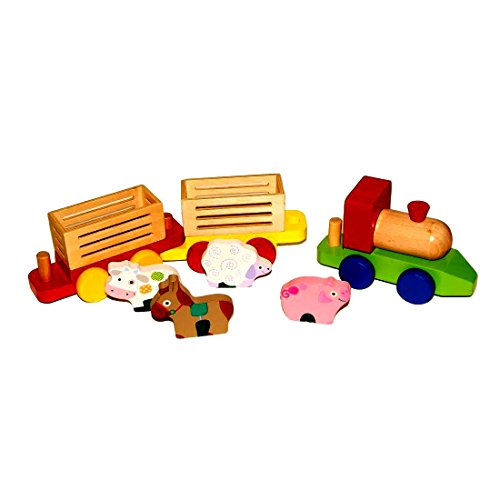 Train Animal Car - Toy Cubby Wood Farm Transportation for sale  Delivered anywhere in USA