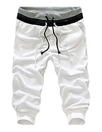 Zantt Men Casual Jogger Athletic Drawstring Cropped Pants Running Shorts