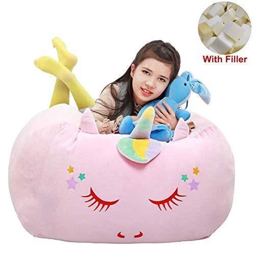Yoweenton Unicorn Bean Bag Chair with Memory Foam Filler