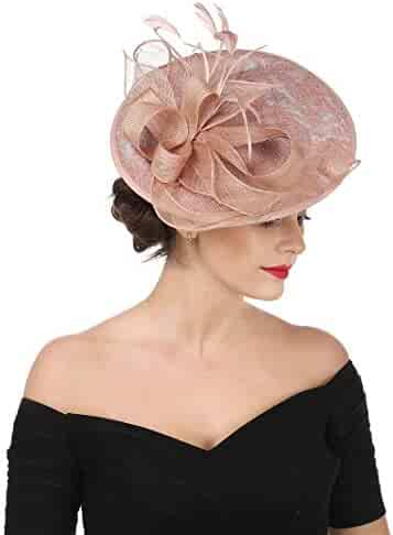 ae2c9957b3d SAFERIN Fascinators Hat Sinamay Flower Mesh Feathers on a Headband and a  Clip Tea Party Headwear