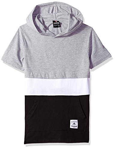 Southpole Big Boys' Short Sleeve Hooded Fashion Tee (Age8-20), Heather Grey/Color Block, Medium