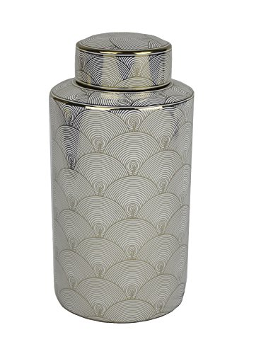 Sagebrook Home 11846 Decorative Lidded Jar, White/Gold Ceramic, 8 x 8 x 15.5 Inches