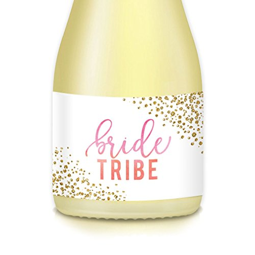 BRIDE TRIBE Mini Champagne & Wine Bottle Labels, Pop the Bubbly! Bachelorette, Engagement Celebrations, Bridesmaid Maid of Honor, Wedding Party Gift Bags, Boxes, Favors, 20 Count 3.5