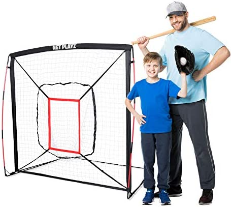 NET PLAYZ Baseball Softball Practice Hitting Pitching Net Similar to Bow Frame