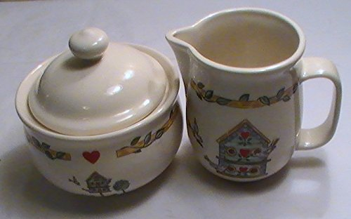 - Thomson Pottery Birdhouse Sugar Bowl with Lid and Creamer Set
