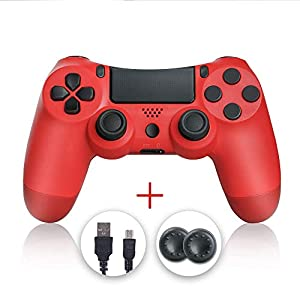 Mando PS4, PS4 Controller, Controlador PS4, Mando Inalámbrico Gamepad Compatible con Playstation 4 (Rojo) 41AGNczvU5L