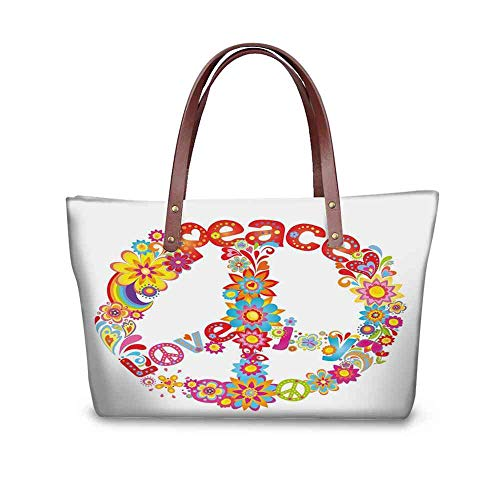 (Custom Handbag Tote Shopping Bags 70s Party Decorations,Peace Sign Colorful Flowers Rainbows Love and Joy Festive Composition,Multicolor Printing Purse Vase Size:19.2