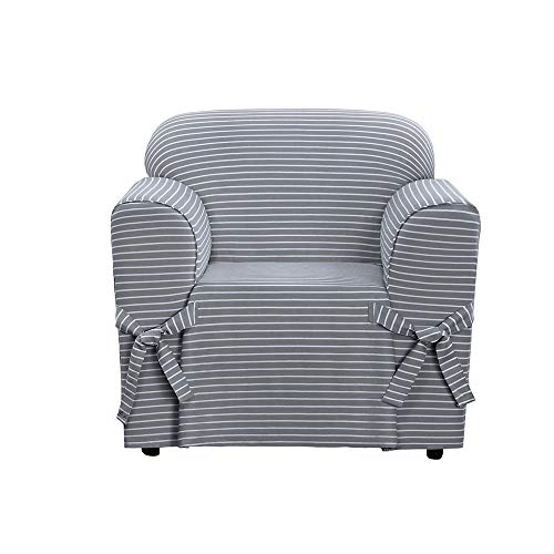 SureFit SF46203 Horizontal Club Stripe 100% Cotton 1 Piece Chair Slipcover, Limestone - Arm One Loveseat