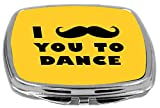 Rikki Knight I Mustache You to Dance Design Compact Mirror, Yellow, 2 Ounce