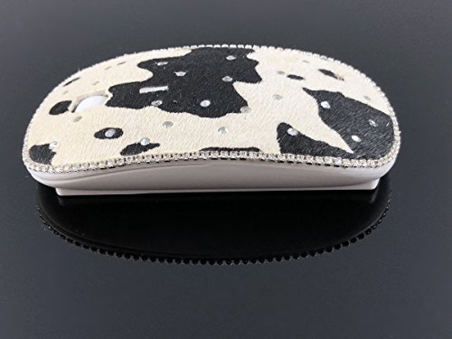 Cowhide Crystal Rhinestone (blingustyle Real Leather cowhide design sparkly Crystals Wireless Optical Mouse 2.4GHz - Cordless PC Mouse with Scrollwheel Sensitivity (MAX 1600dpi) - For Laptop/Desktop Computer cowhide/s)
