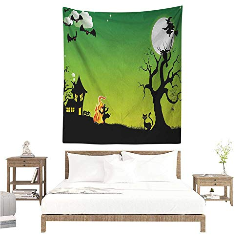 Agoza Halloween Tapestry Witches Dancing with Fire and Flying at Halloween Ancient Western Horror Image Living Room Background Decorative Painting 60W x 91L INCH Green Black ()