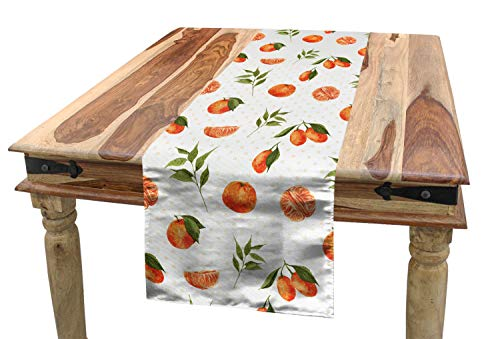 Ambesonne Burnt Orange Table Runner, Watercolor Orange and Tangerine Fruits with Leaves on Polka Dots, Dining Room Kitchen Rectangular Runner, 16