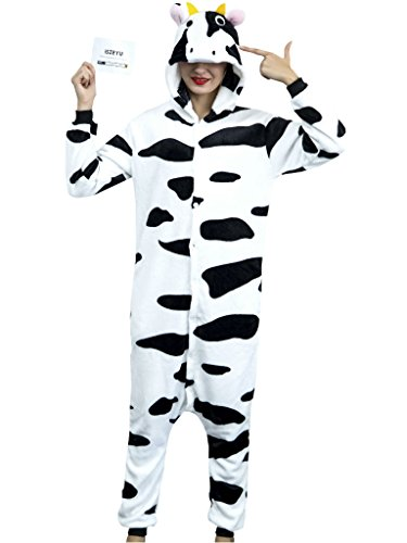 Footed Pajamas for Adult Christmas Halloween Costumes Men Women Cow Pjs (Dessin Halloween Adulte)