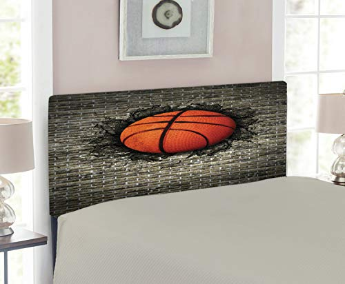Lunarable Sports Headboard, Basketball Embedded in a Brick Wall Power Training Destruction Concept Art, Upholstered Decorative Metal Headboard with Memory Foam, for Twin Size Bed, Sepia Orange Black