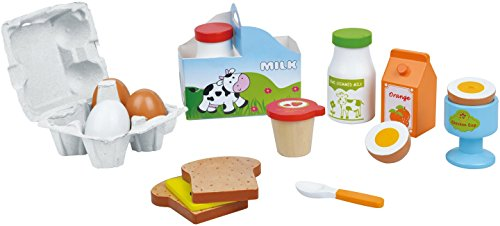 (Lelin 19 PC Wooden Breakfast Cereal Food Play Set Childrens Pretend Play)