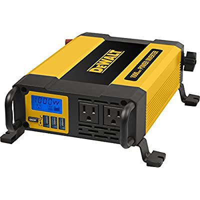 DEWALT DXAEPI1000 Power Inverter 1000W Car Converter with LCD Display: Dual 120V AC Outlets, 3.1A USB Ports, Battery Clamps: Automotive