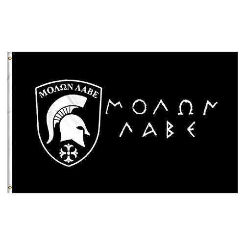 Oniche Foot Molon Labe Flag 3X5 Foot Spartan Banner Polyester Flags Indoor Outdoor Vivid Color Flag with Brass Grommets (Molon Labe Flag)