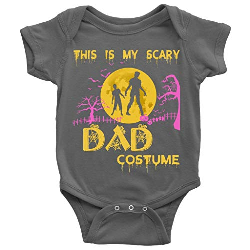 Halloween Day Baby Bodysuit, My Scary Dad Costume Cute Baby Bodysuit (NB, Baby Bodysuit - Dark Gray) ()