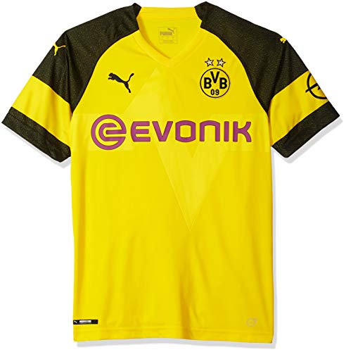 98adac79f59 PUMA Men's BVB Home Shirt Replica with EVONIK Logo, F Cyber Yellow, M