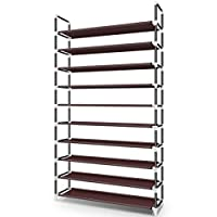 Awenia 10 Tiers Shoe Rack Organizer 50 Pairs, 5 Tiers Shoe Rack Organizer 25 Pairs, Adjustable Shoes Shelf Tower Metal Tall