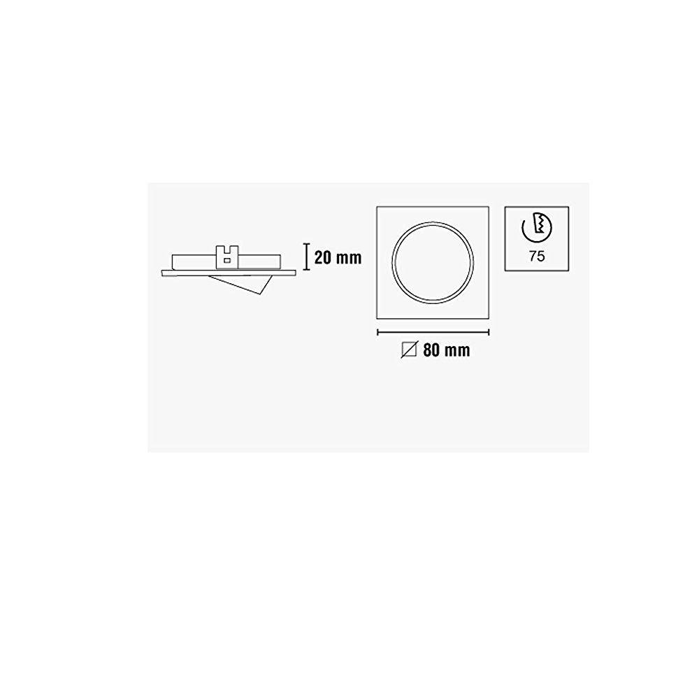 Incluye portal/ámparas GU10 Bombilla no incluida Wonderlamp Foco empotrable BASIC cuadrado n/íquel 8 x 8 x 2 cm /Ángulo basculaci/ón: 30/º
