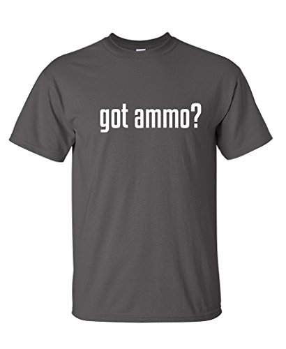 Got Ammo? Mens Military 2nd Amendment Funny Shooting Gun T Shirt L Charcoal Gun Tee