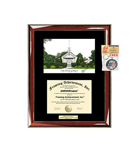 AllGiftFrames Liberty University Diploma Frame Lithograph Degree Graduation Framing Black Matted Engraved Custom University Graduate Gift Holder Case