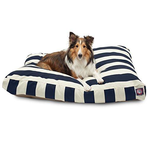 Navy Blue Vertical Stripe Large Rectangle Pet Bed