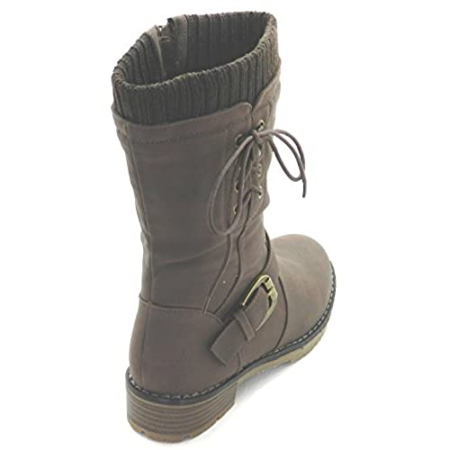 New Womens Military Combat Fashion Boots Mid knee Low Flat Heel boots best