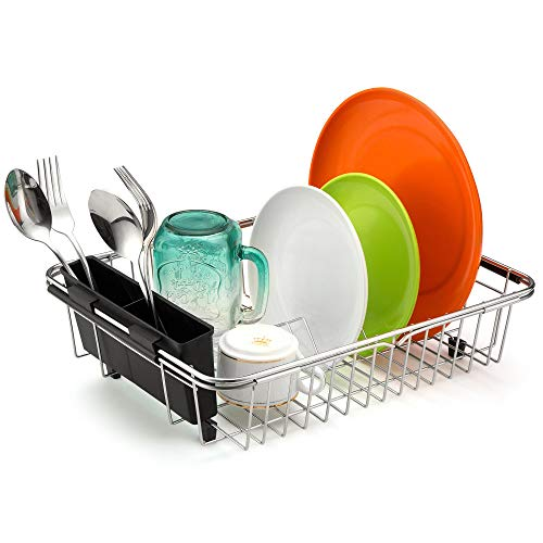 (MONOKIT Expandable Dish Rack Drainer Drying Rack Plate Holder Basket Kitchen Organizer Over the Sink with Utensil Silverware Storage Rustproof Stainless Steel)