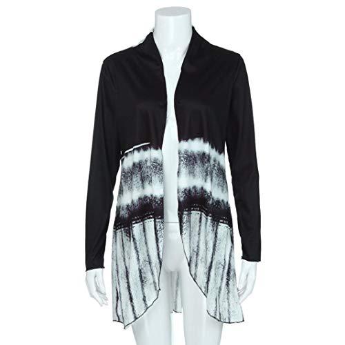 Mode Femmes Longues lgant Tie Mme sunshineBoby Noir Impression Top Chemisier Cardigan Manches Dgrad Cardigan Salut Manches Low Top Dye asymtrique Longues Ouvert Swxdq4dF5