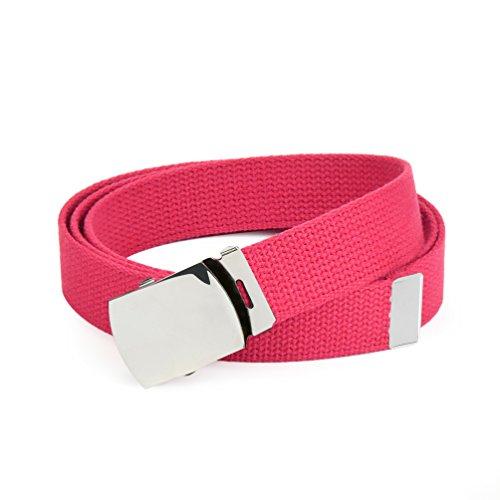 Hold'Em Military Canvas Webbing Belts for MEN'S-Polished Silver Slider Buckle Heavy Duty Adjustable -Hot Pink