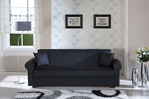 Floris Escudo Black Convertible Sofa Bed by Sunset