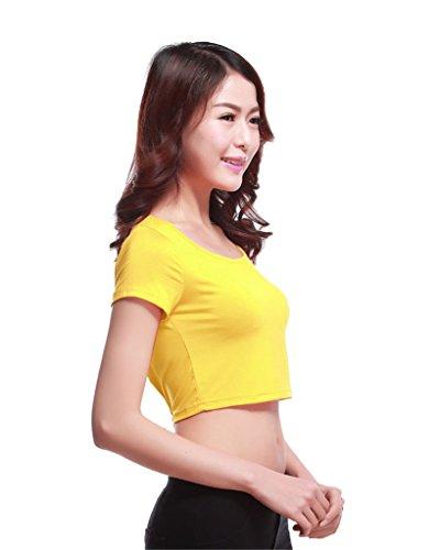 GladThink la mujer musulmana camiseta de manga corta de media longitud y Amarillo