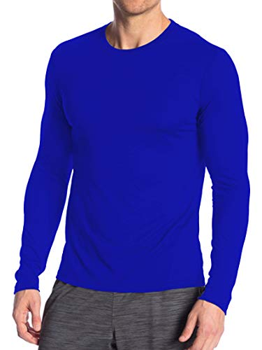 (Miracle(Tm) Neon Underscrub Athletic Sport Shirt - Mens Adult Wicking High Visibility Long Sleeves Blue Undershirts (XL))