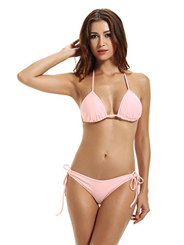 zeraca Women's Tie Side Bottom Triangle Bikini Bathing Suits (M10, Euphoria Pink)