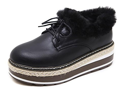 2 Ring Creeper Sneaker (RAINSTAR Women's Winter Lace Up Wedge Platform Faux Fur Lined Sneaker Shoes Black 6)