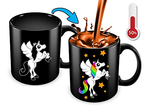 Cortunex Unicorn Color Changing Cup - 11 Ounce Funny Coffee Mug - Great Unicorn Gift For Girls,Women,Mom And Unicorn Lovers - Cute Mug - Black Ceramic Heat Changing Mug