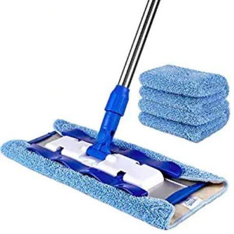 Professional Microfiber Hardwood Floor Mop 360°Rotation Stainless Steel Handle with 4 Free Microfiber Cloths,No Need to Wash Your Hands by Gang Xin