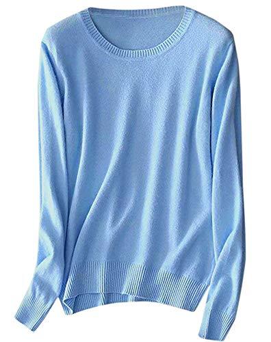 SANGTREE Women's Soft Lightweight Plain Long Sleeve Crewneck Knitted Cashmere Pullover Sweater, Light Blue, Tag S =US XS (0-2) Blue 2 Cashmere Sweater