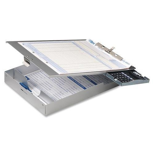 OIC Aluminum Form Holder w/1'' Deep Storage/Calculator,8-1/2''x12'' (83201)