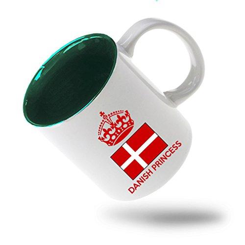 Danish Crown Princess (Style In Print Danish Princess Crown Coffee Tea Ceramic Inner Color Mug White/Green)