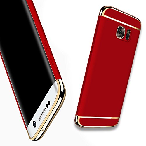 For Galaxy S6 Edge Plus Case,JOBSS Hybrid Luxury Shockproof Armor Back Ultra-thin Case Cover Removable case for Samsung Galaxy S6 Edge Plus Red