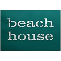 E by design RWN415BL12-35 Beach House Word Print Indoor/Outdoor Rug, 3 x 5, Teal