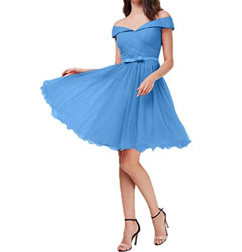 Kurzes Mini Knie Abendkleider Blau von Festlichkleider Cocktailkleider Partykleider V ausschnitt Damen Oberhalb Charmant gp8wZxq5Bg